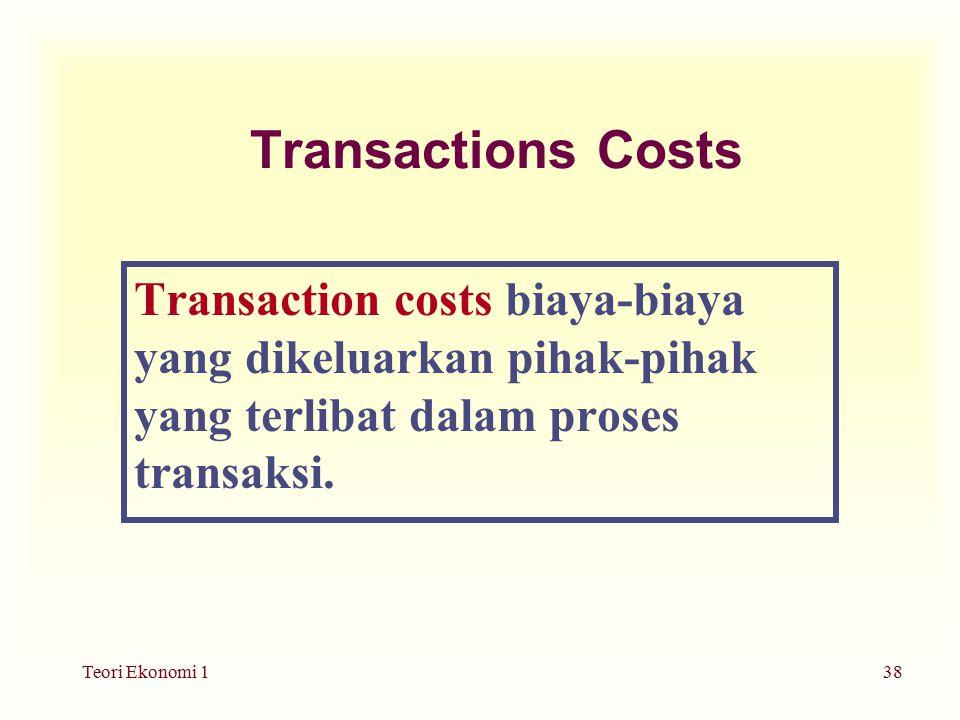 Transactions Costs Transaction costs biaya-biaya yang dikeluarkan pihak-pihak yang terlibat dalam proses transaksi.