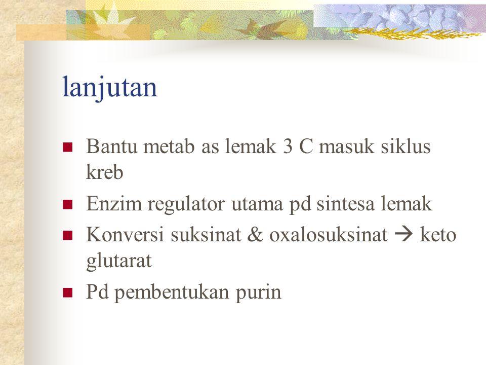 lanjutan Bantu metab as lemak 3 C masuk siklus kreb