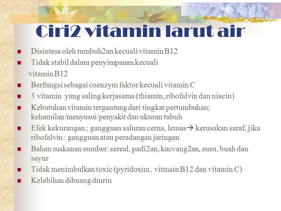Ciri2 vitamin larut air Disintesa oleh tumbuh2an kecuali vitamin B12