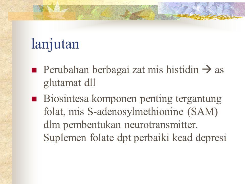 lanjutan Perubahan berbagai zat mis histidin  as glutamat dll