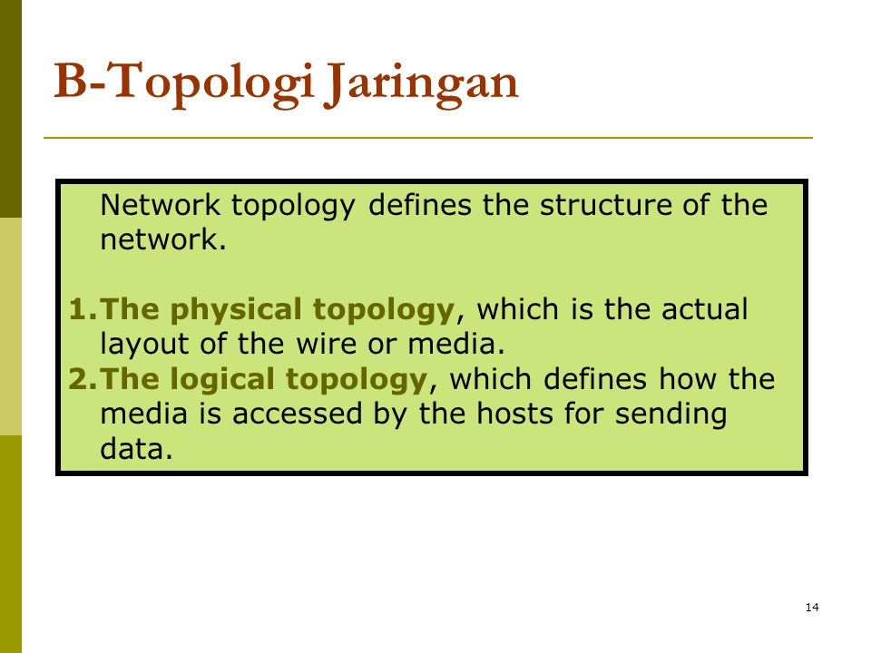 B-Topologi Jaringan Network topology defines the structure of the network. The physical topology, which is the actual layout of the wire or media.