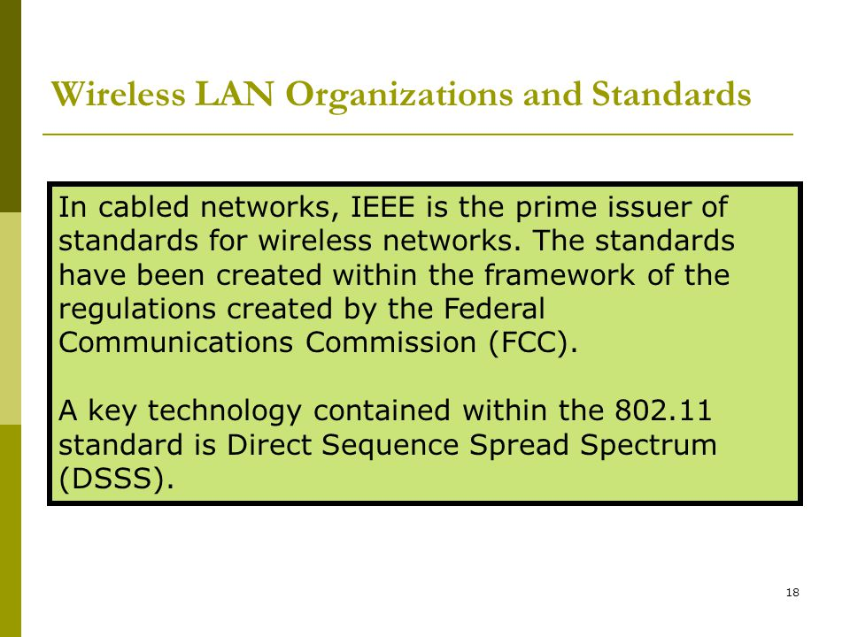 Wireless LAN Organizations and Standards