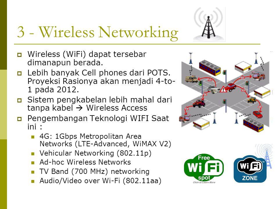3 - Wireless Networking Wireless (WiFi) dapat tersebar dimanapun berada.