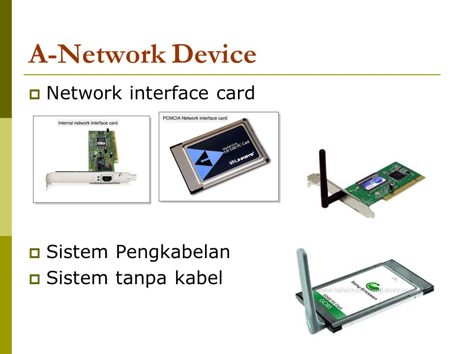 A-Network Device Network interface card Sistem Pengkabelan