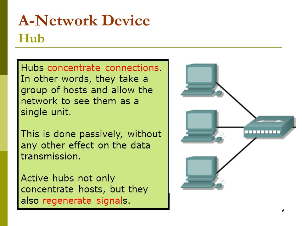 A-Network Device Hub Hubs concentrate connections. In other words, they take a group of hosts and allow the network to see them as a single unit.