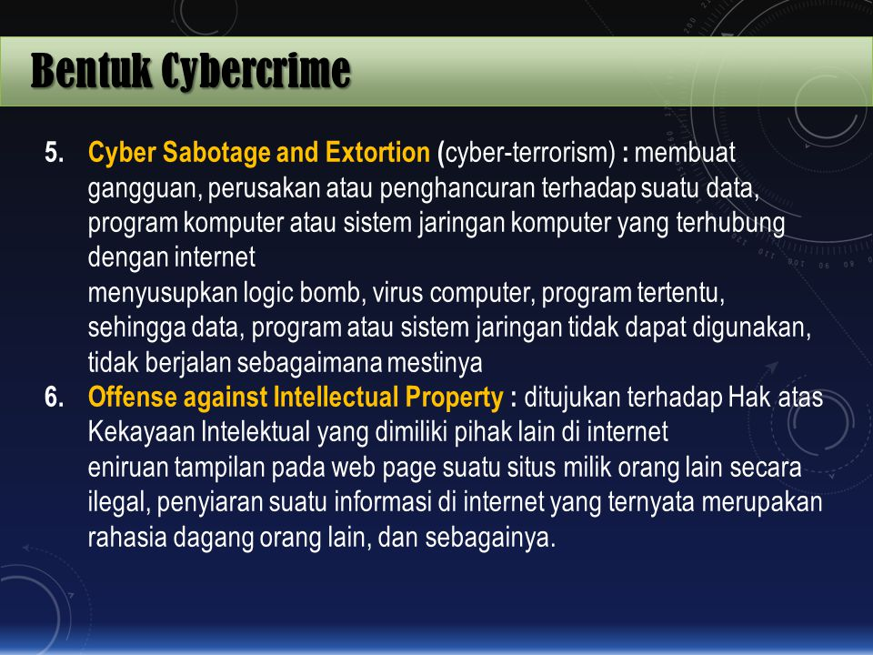 Bentuk Cybercrime