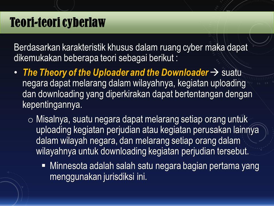 Teori-teori cyberlaw Berdasarkan karakteristik khusus dalam ruang cyber maka dapat dikemukakan beberapa teori sebagai berikut :