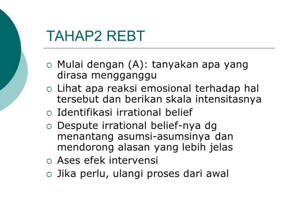 TAHAP2 REBT Mulai dengan (A): tanyakan apa yang dirasa mengganggu