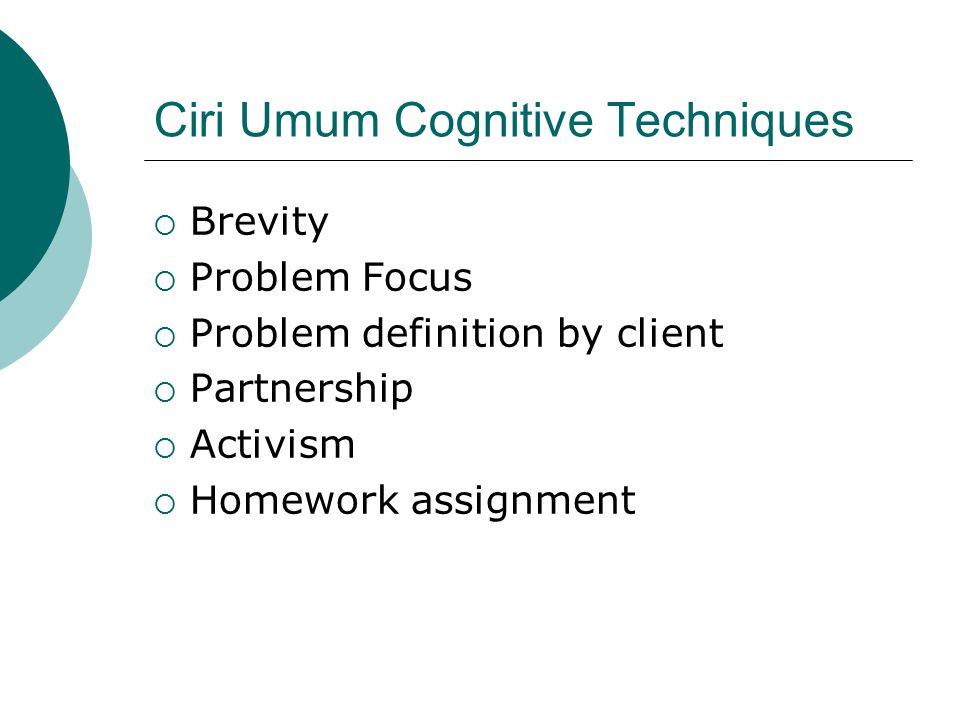 Ciri Umum Cognitive Techniques