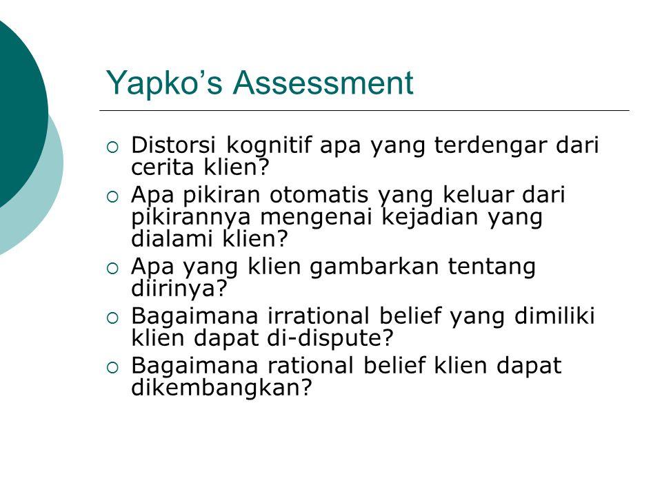 Yapko's Assessment Distorsi kognitif apa yang terdengar dari cerita klien