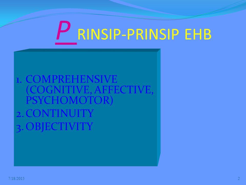P RINSIP-PRINSIP EHB COMPREHENSIVE (COGNITIVE, AFFECTIVE, PSYCHOMOTOR)