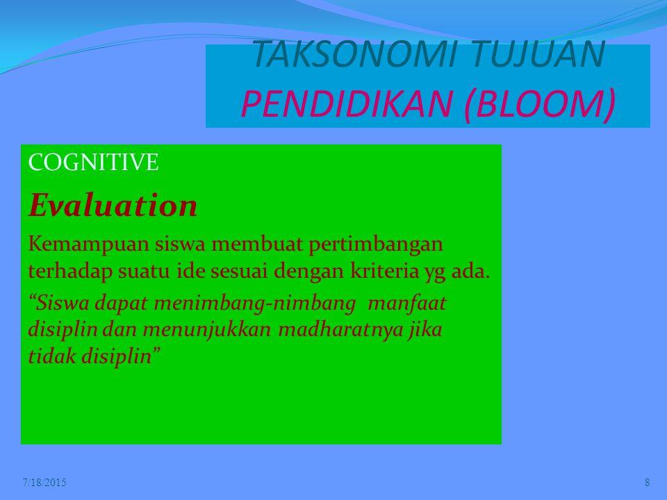 TAKSONOMI TUJUAN PENDIDIKAN (BLOOM)