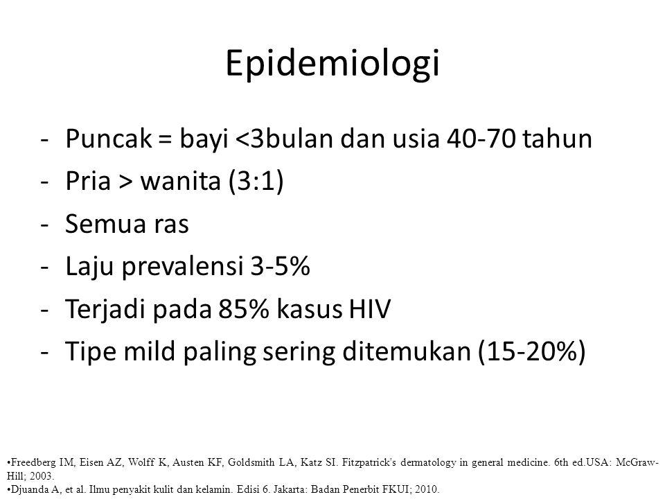 Epidemiologi Puncak = bayi <3bulan dan usia 40-70 tahun