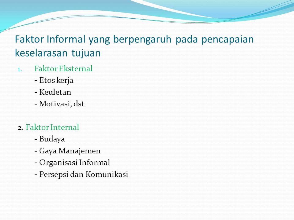 Faktor Informal yang berpengaruh pada pencapaian keselarasan tujuan
