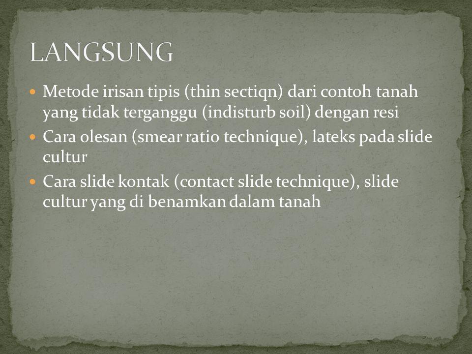 LANGSUNG Metode irisan tipis (thin sectiqn) dari contoh tanah yang tidak terganggu (indisturb soil) dengan resi.