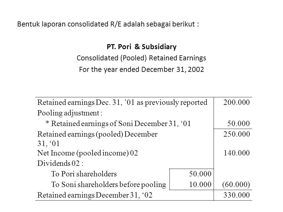 Bentuk laporan consolidated R/E adalah sebagai berikut :