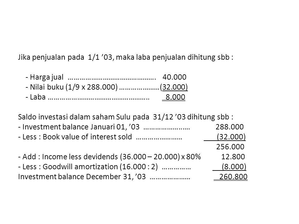 Jika penjualan pada 1/1 '03, maka laba penjualan dihitung sbb :