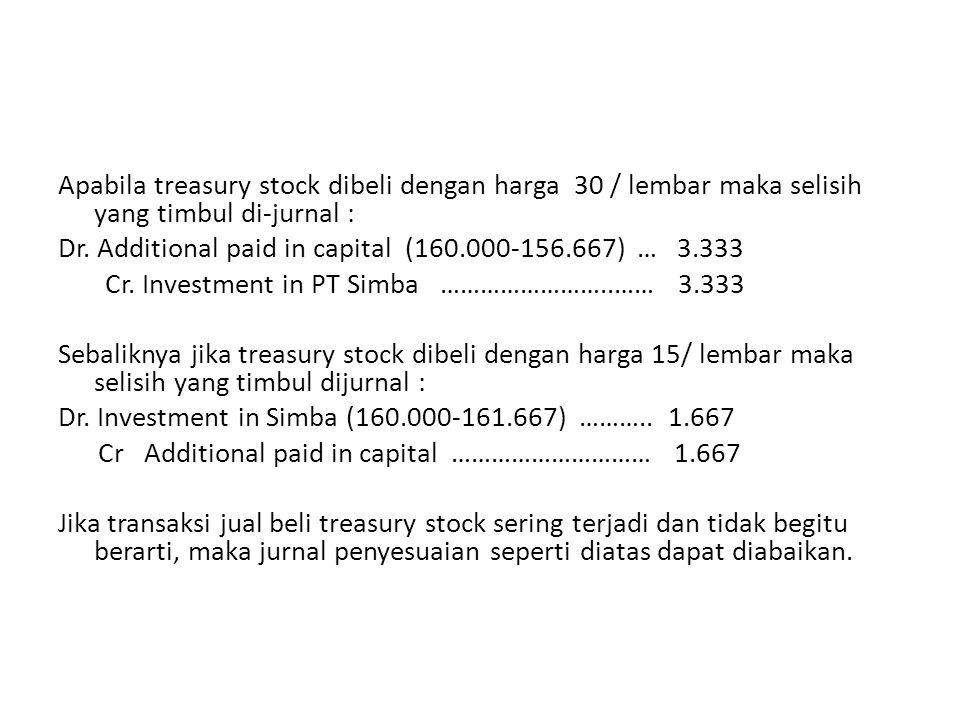 Apabila treasury stock dibeli dengan harga 30 / lembar maka selisih yang timbul di-jurnal : Dr.