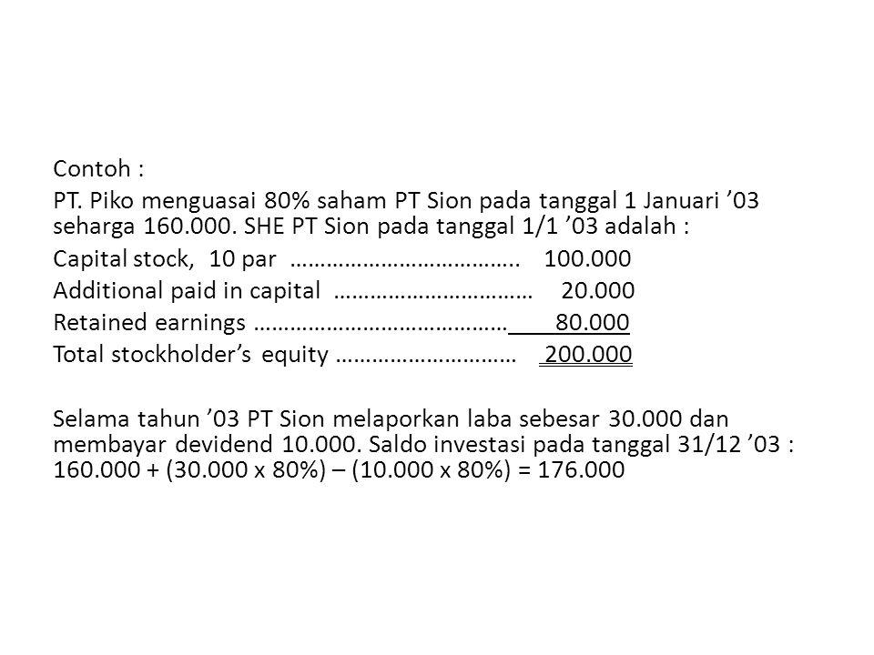 Contoh : PT. Piko menguasai 80% saham PT Sion pada tanggal 1 Januari '03 seharga 160.000.