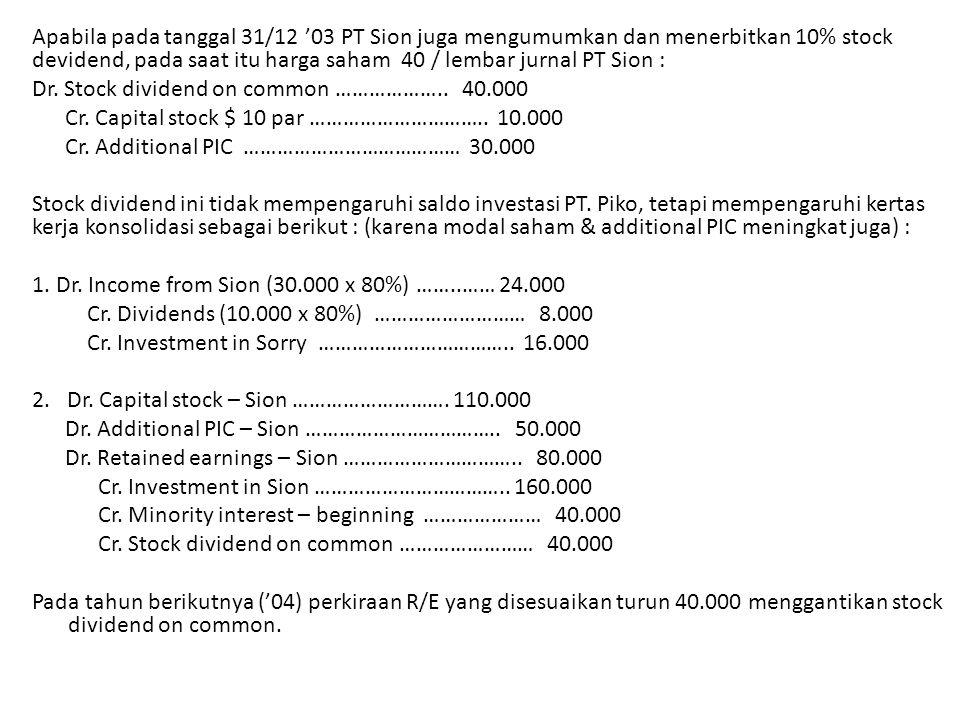 Apabila pada tanggal 31/12 '03 PT Sion juga mengumumkan dan menerbitkan 10% stock devidend, pada saat itu harga saham 40 / lembar jurnal PT Sion :
