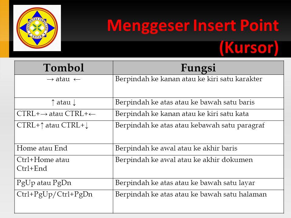 Menggeser Insert Point (Kursor)