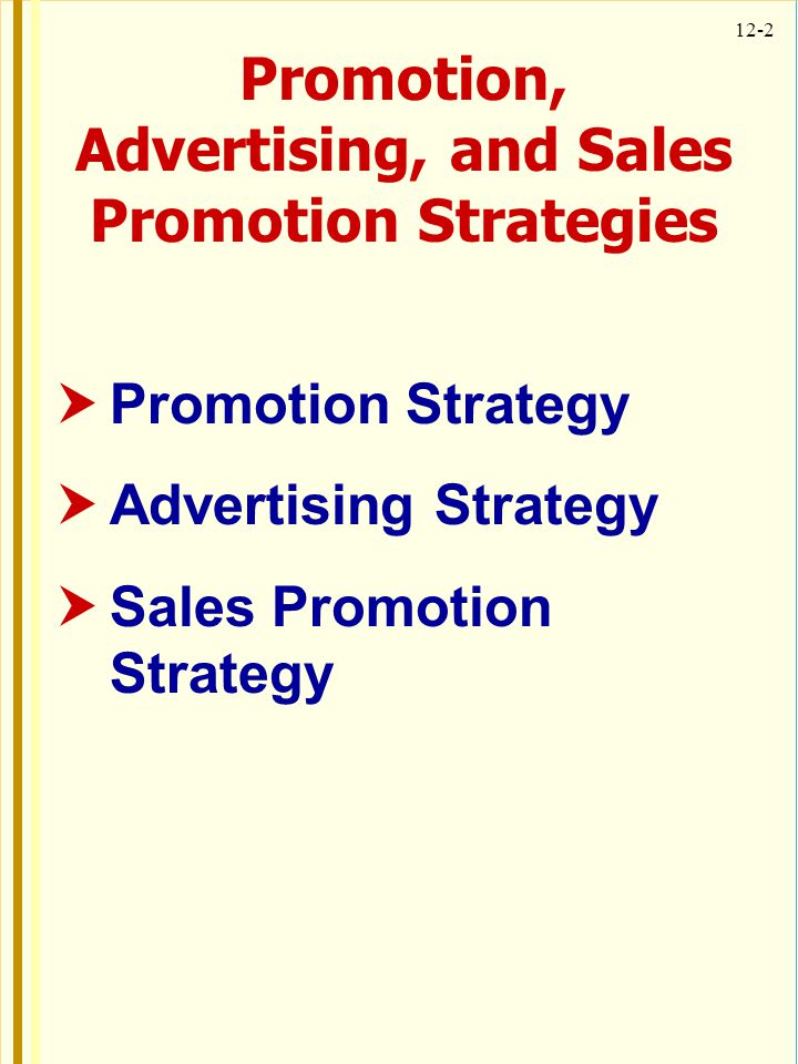 Promotion, Advertising, and Sales Promotion Strategies