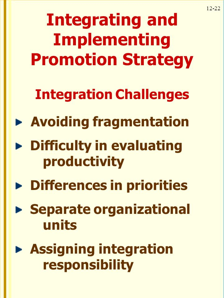 Integrating and Implementing Promotion Strategy Integration Challenges
