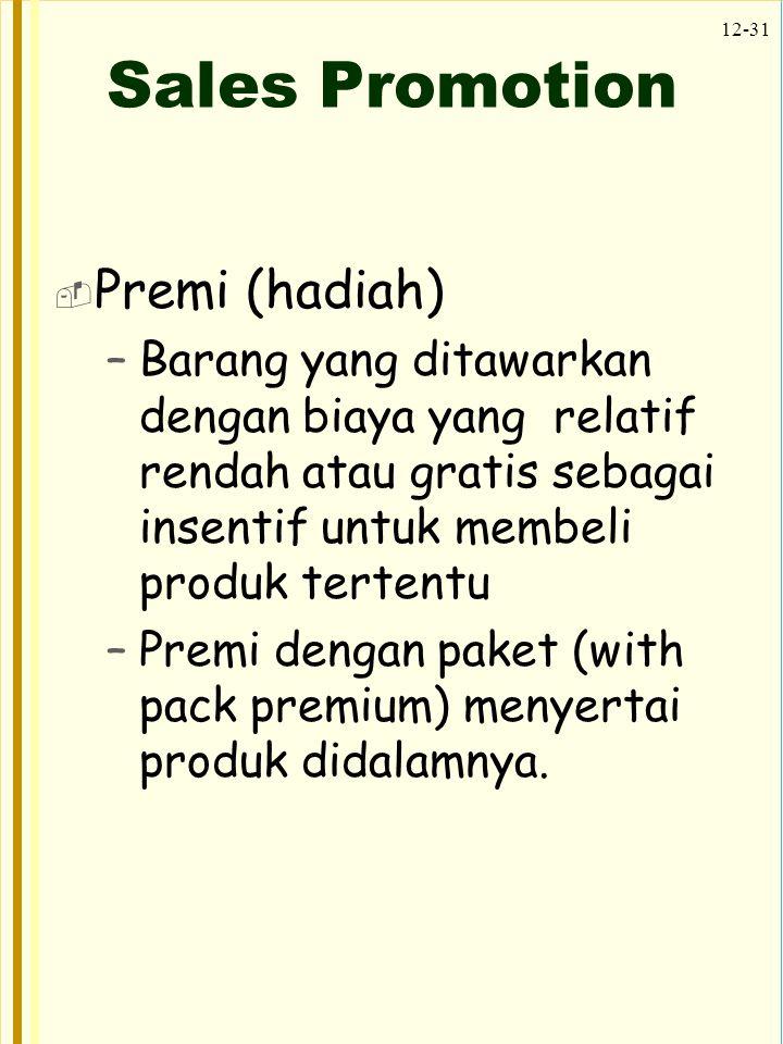 Sales Promotion Premi (hadiah)