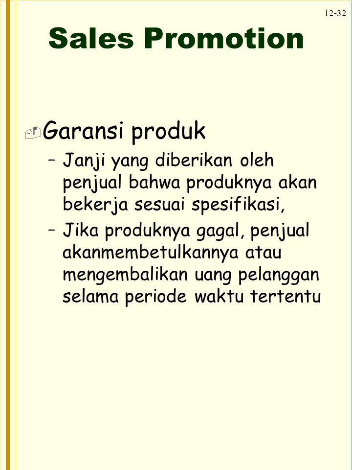 Sales Promotion Garansi produk