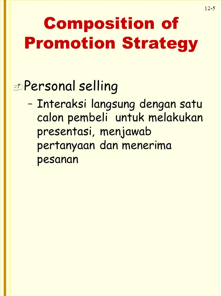 Composition of Promotion Strategy