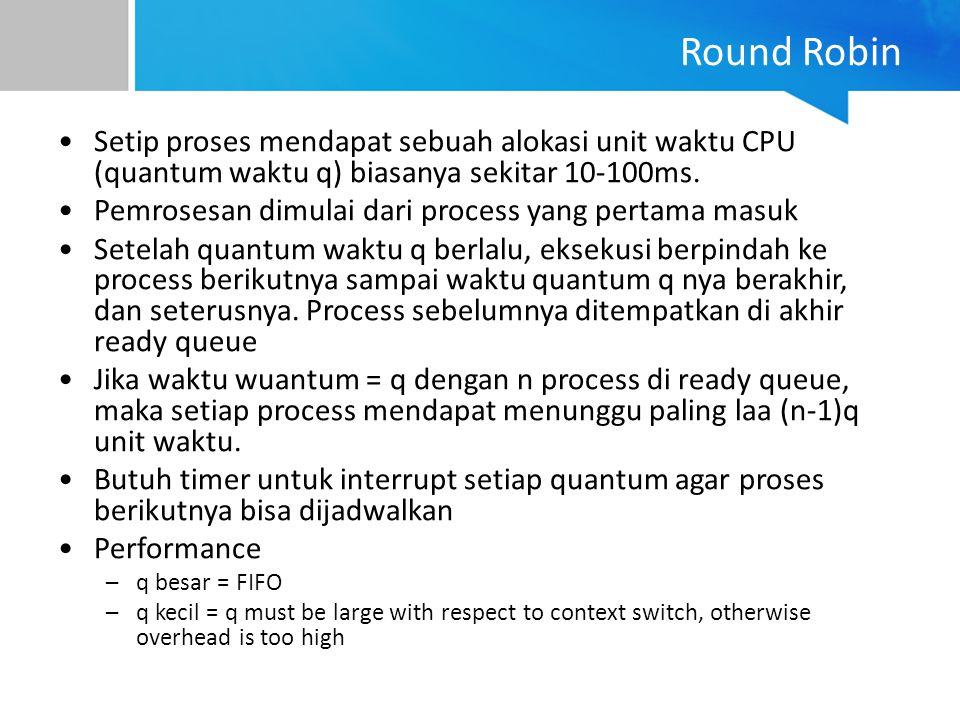 Round Robin Setip proses mendapat sebuah alokasi unit waktu CPU (quantum waktu q) biasanya sekitar 10-100ms.
