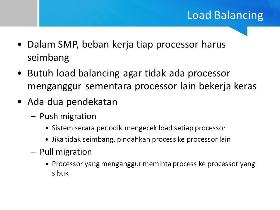 Load Balancing Dalam SMP, beban kerja tiap processor harus seimbang