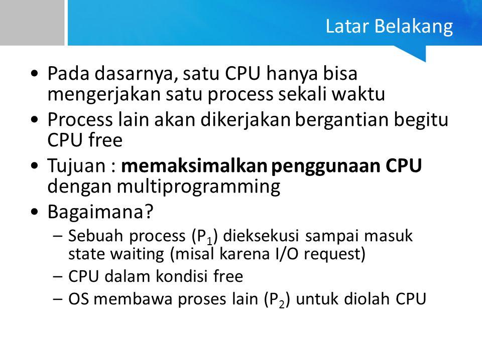 Process lain akan dikerjakan bergantian begitu CPU free