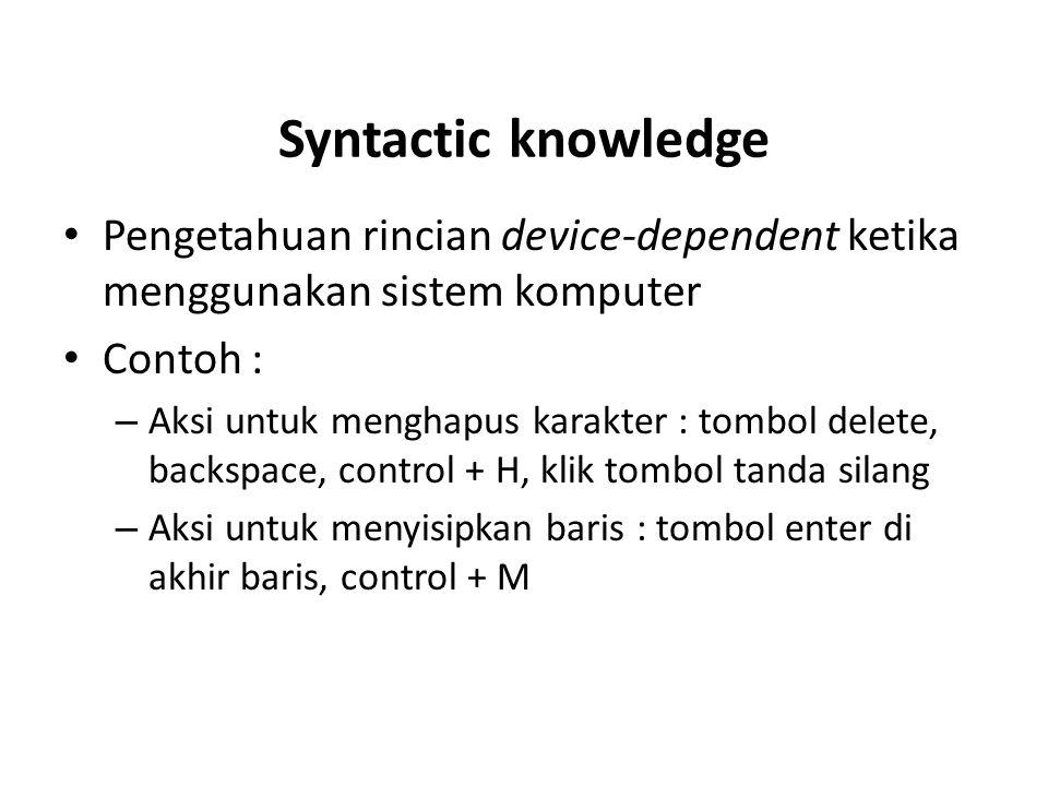 Syntactic knowledge Pengetahuan rincian device-dependent ketika menggunakan sistem komputer. Contoh :