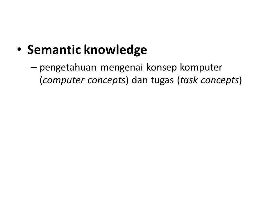 Semantic knowledge pengetahuan mengenai konsep komputer (computer concepts) dan tugas (task concepts)