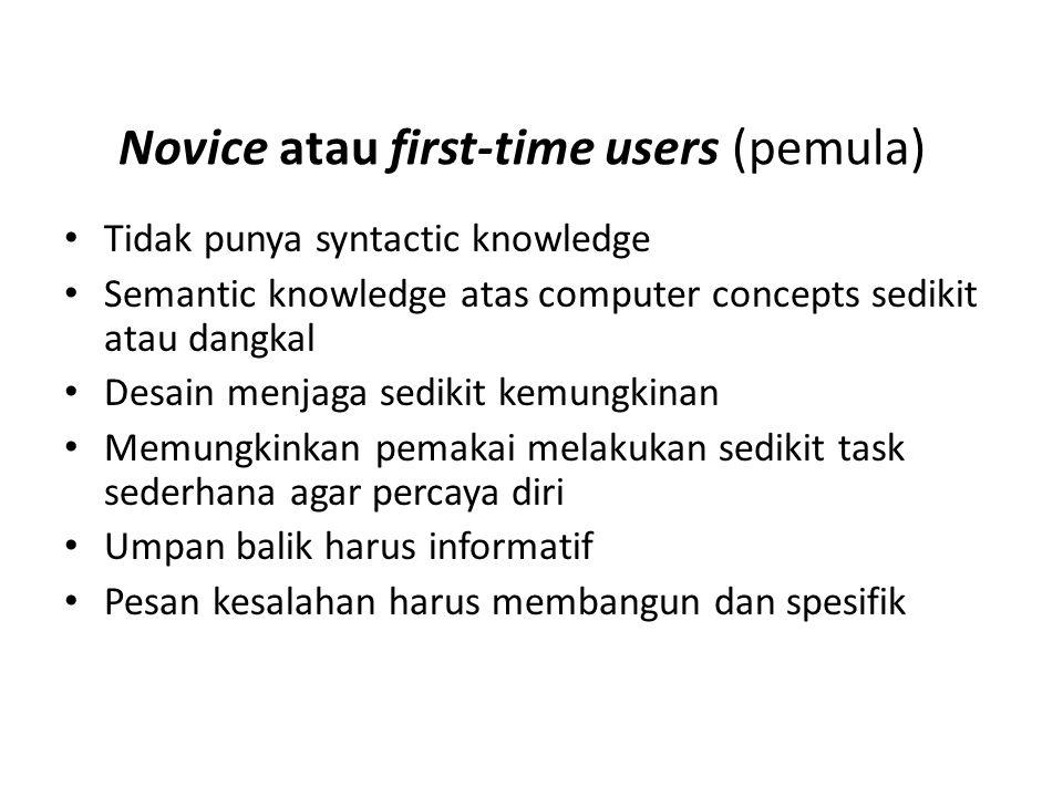 Novice atau first-time users (pemula)
