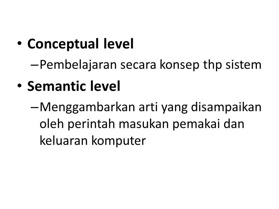 Conceptual level Semantic level Pembelajaran secara konsep thp sistem