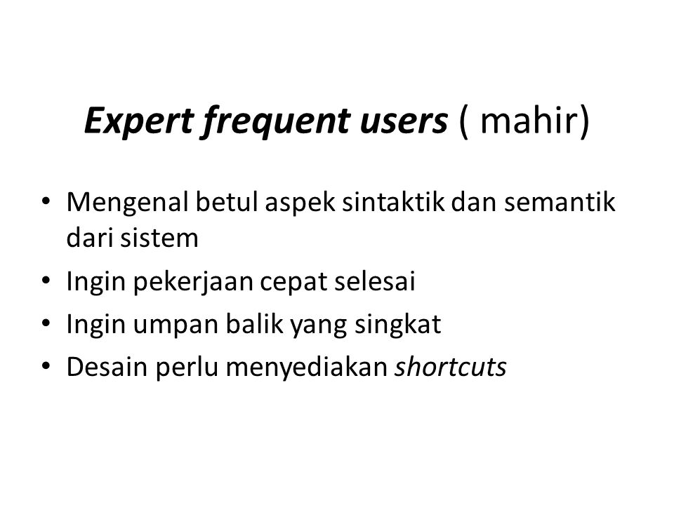 Expert frequent users ( mahir)
