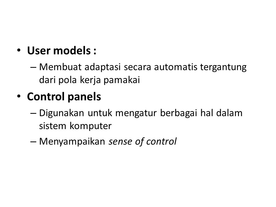 User models : Control panels