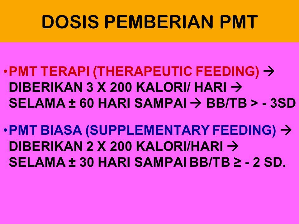 DOSIS PEMBERIAN PMT PMT TERAPI (THERAPEUTIC FEEDING)  DIBERIKAN 3 X 200 KALORI/ HARI  SELAMA ± 60 HARI SAMPAI  BB/TB > - 3SD.