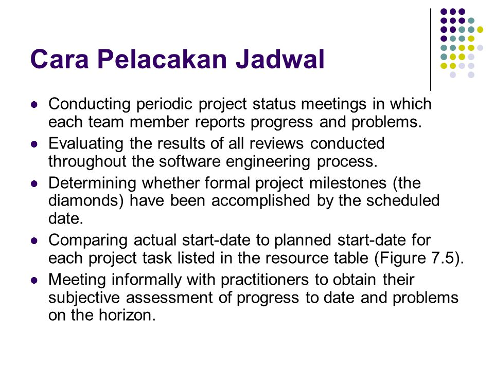 Cara Pelacakan Jadwal Conducting periodic project status meetings in which each team member reports progress and problems.