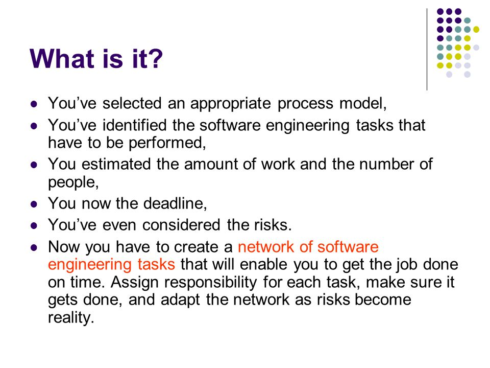 What is it You've selected an appropriate process model,