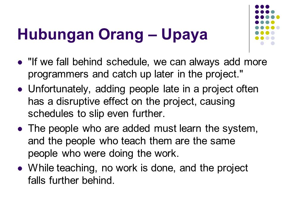 Hubungan Orang – Upaya If we fall behind schedule, we can always add more programmers and catch up later in the project.