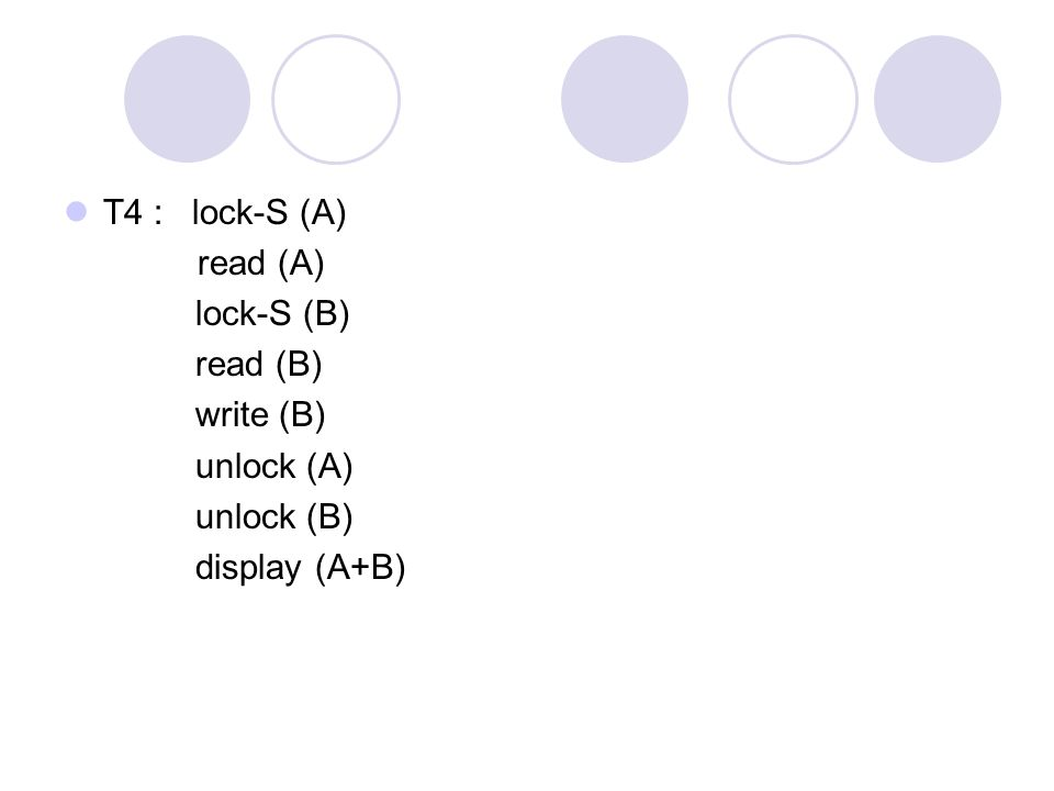 T4 : lock-S (A) read (A) lock-S (B) read (B) write (B) unlock (A) unlock (B) display (A+B)