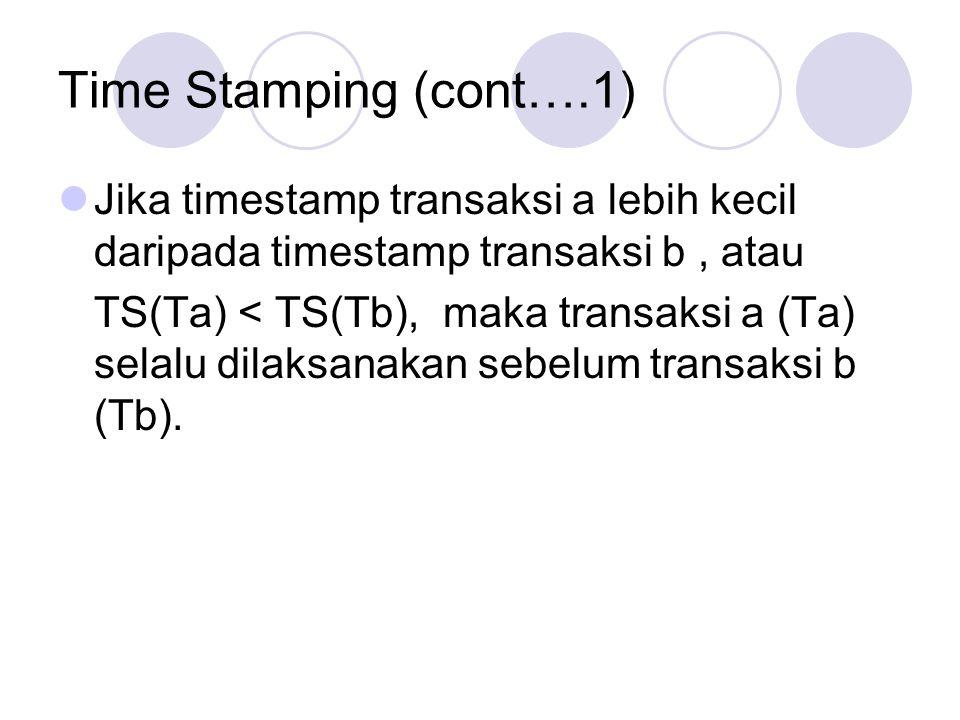 Time Stamping (cont….1) Jika timestamp transaksi a lebih kecil daripada timestamp transaksi b , atau.