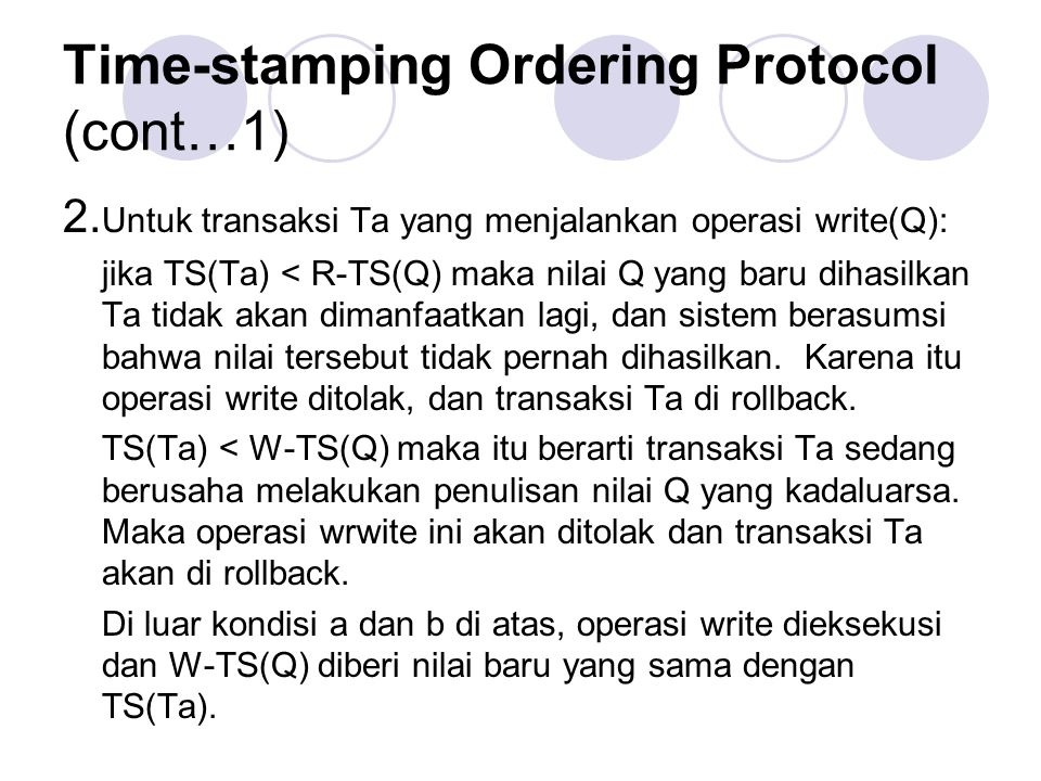 Time-stamping Ordering Protocol (cont…1)