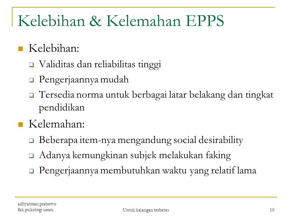 Kelebihan & Kelemahan EPPS