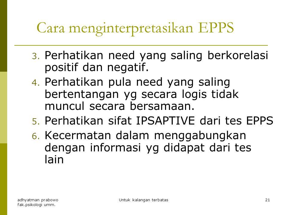 Cara menginterpretasikan EPPS