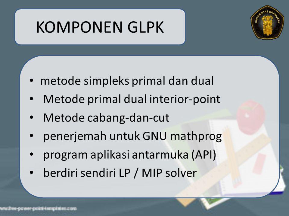 KOMPONEN GLPK metode simpleks primal dan dual