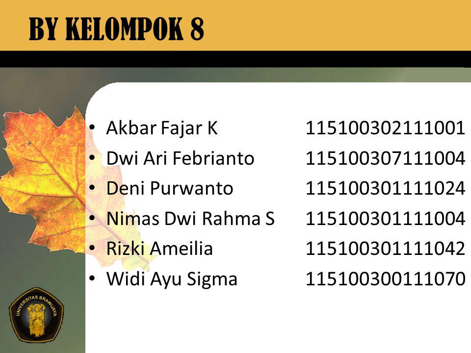 BY KELOMPOK 8 Akbar Fajar K 115100302111001